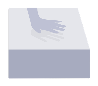 hand indent in memory foam illustration