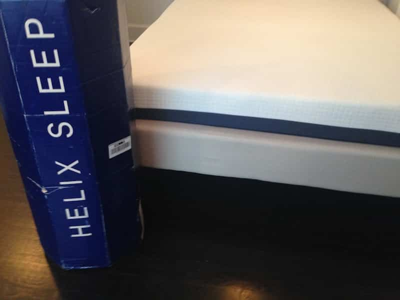 picture of the helix mattress next to its box