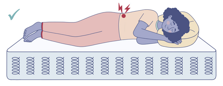 Woman With Back Pain Sleeping On An Innerspring Mattress