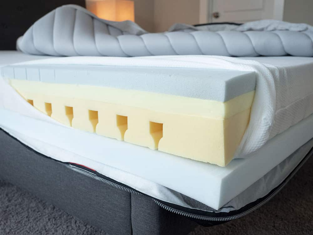 A mattress is cut open to show the insides.