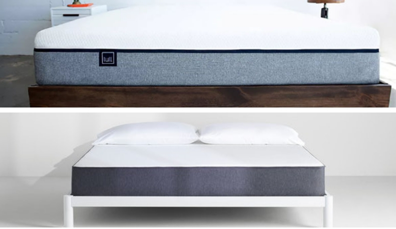 Two mattresses are shown in a split image.