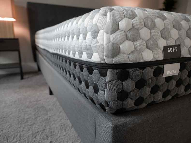 A close shot of a foam mattress.