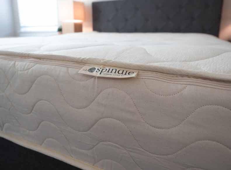 A close shot of a latex mattress.