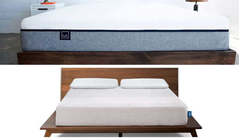 Two beds in a split image.