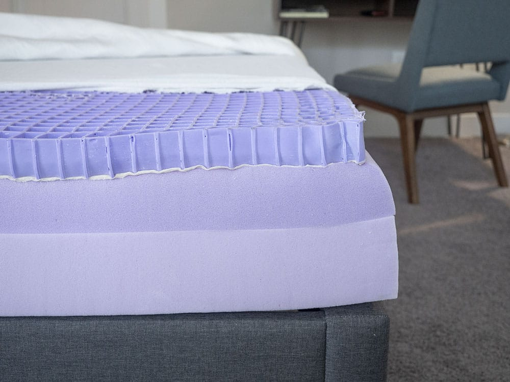 A mattress is cut open to reveal its construction.
