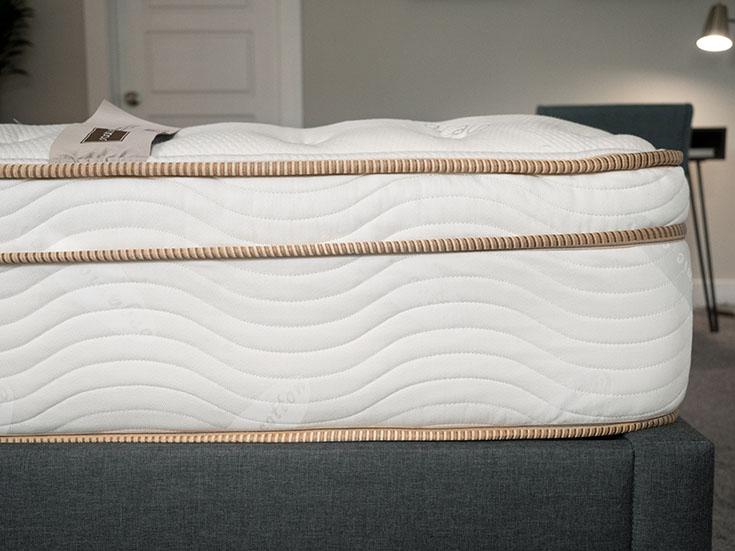 An innerspring mattress shown in close-up.