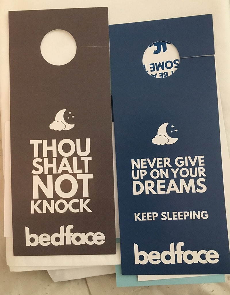 Bedface Sheets Door Hangs