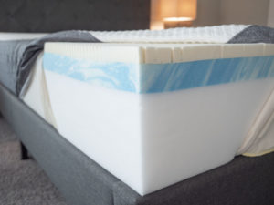 GhostBed mattress is opened to show its construction.