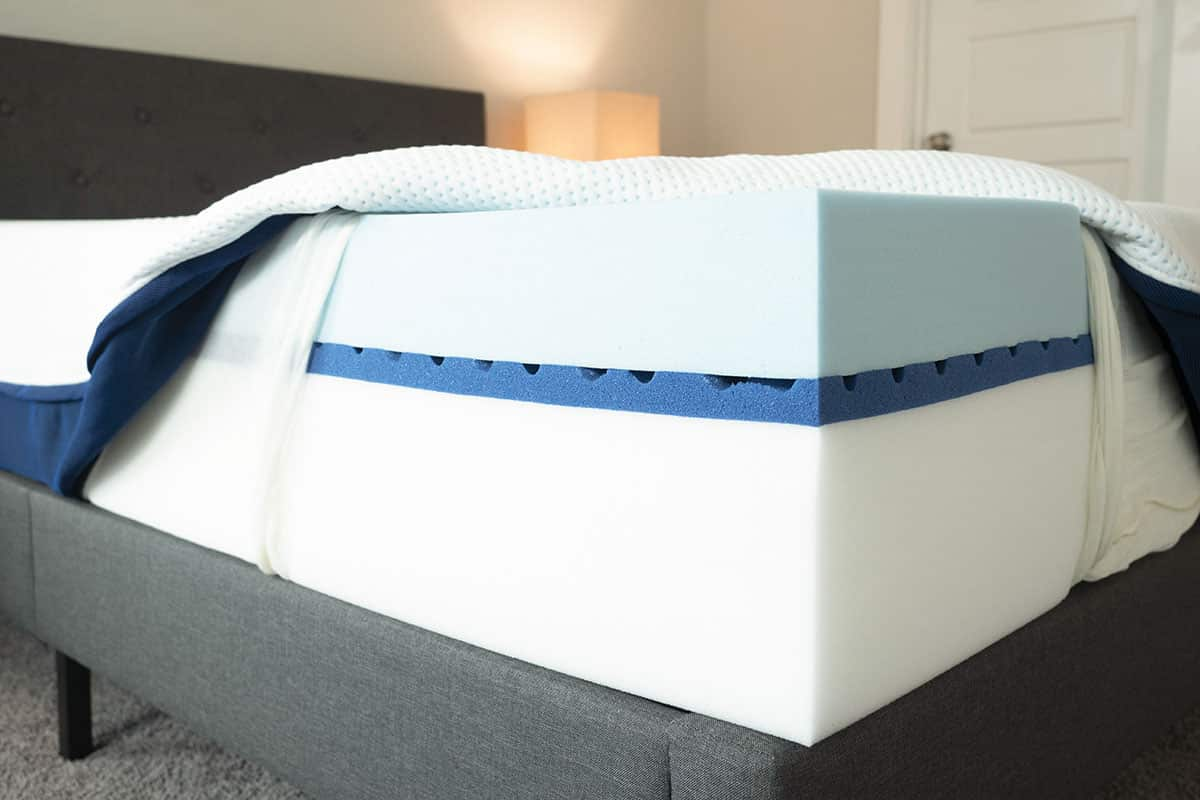 The cover of a mattress is opened so you can see the inside.