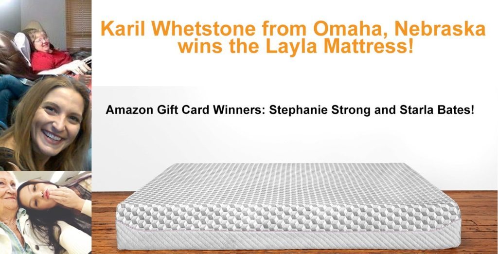 Layla Mattress Giveaway Winners