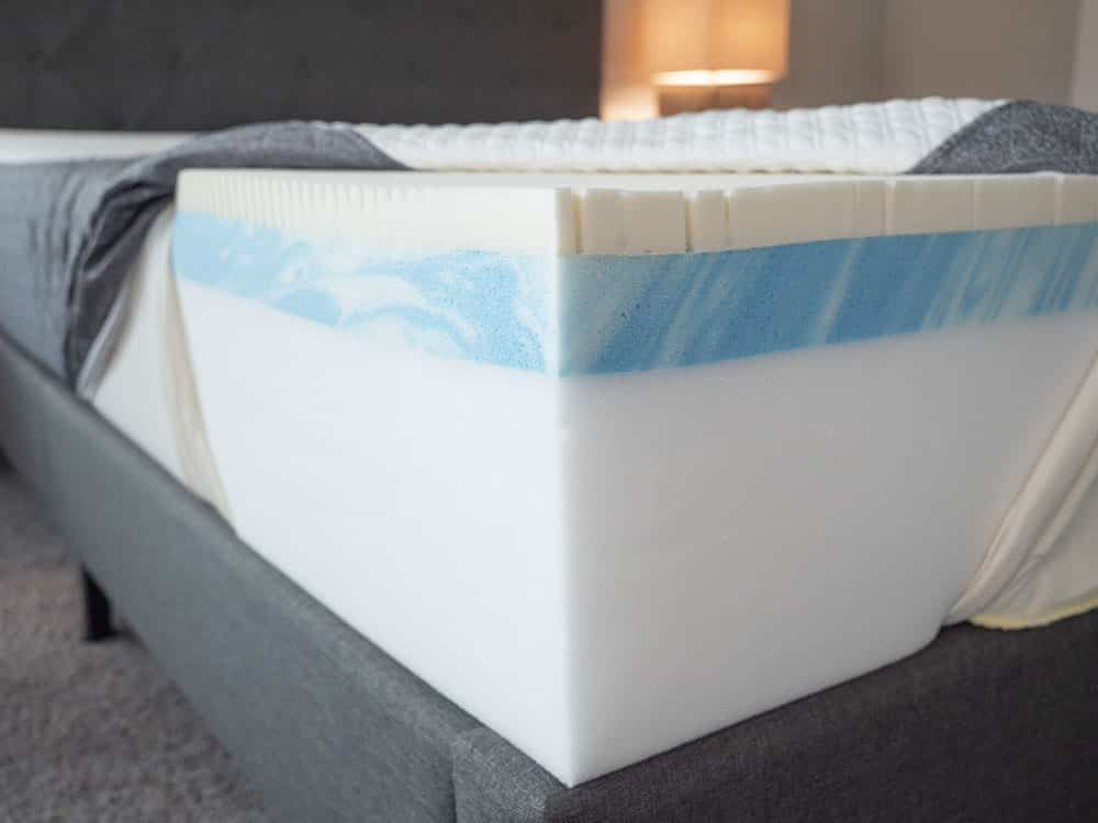 A mattress is cut open to show its components.