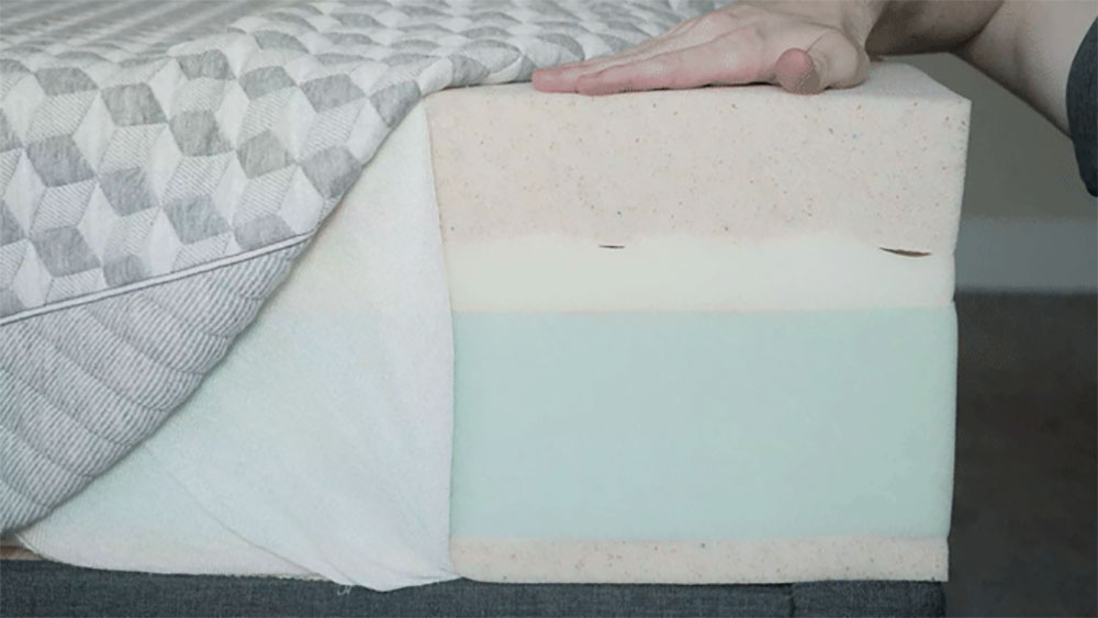 A memory foam mattress is opened to show its construction.