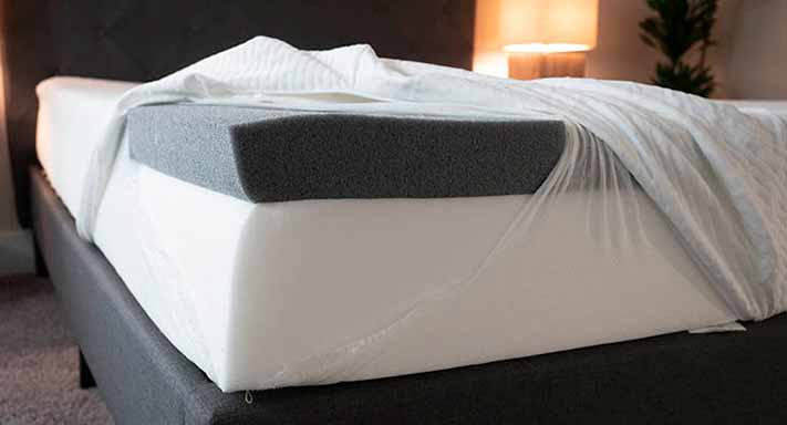 The inside of a bed in a box mattress.