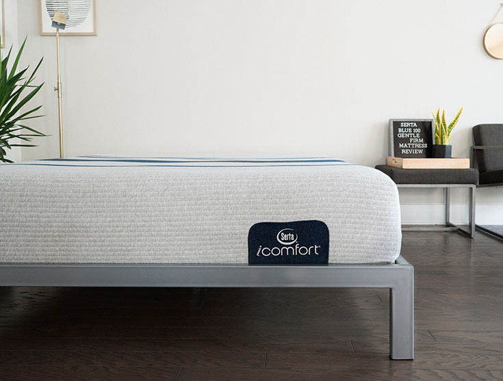 A wide shot of a mattress in a modern bedroom.
