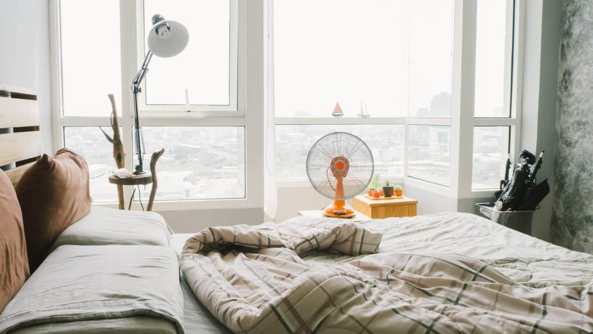 Bedroom with fan - waking up at night