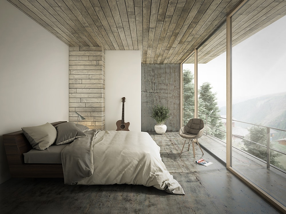 a bedroom with natural light coming in from window
