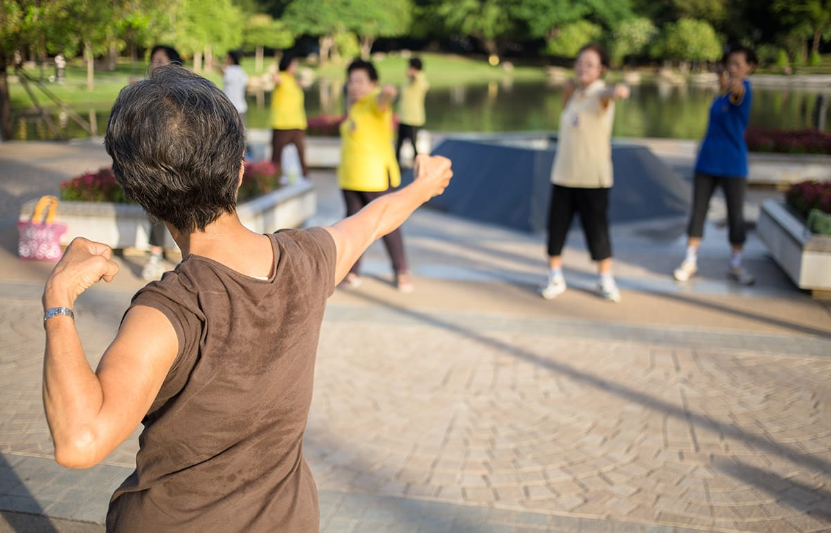 group of women in a tai chi class