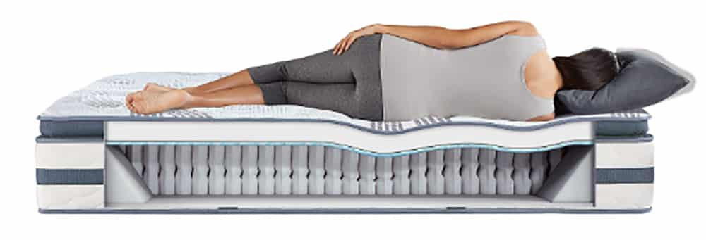 A woman lies on her side on a cross section of a mattress.