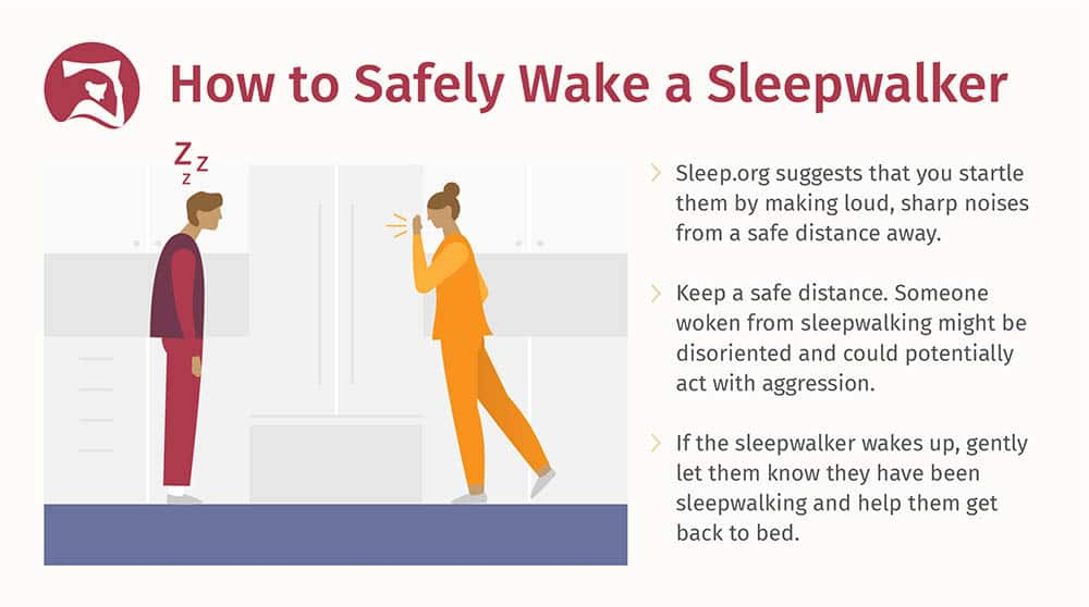 graphic on how to safely wake a sleepwalker