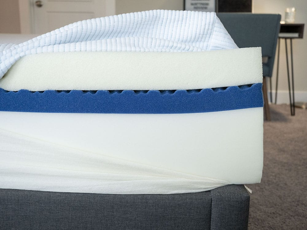A mattress is cut open to show the inside.