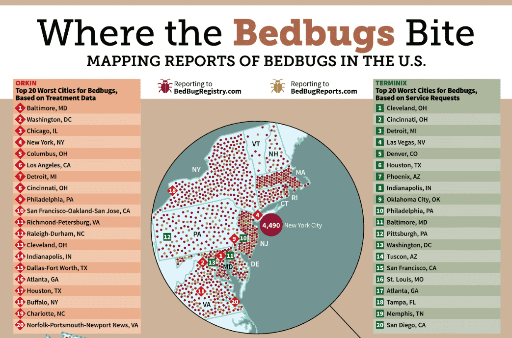 Where The Bedbugs Bite Mapping Reports Of Bedbugs In The U S