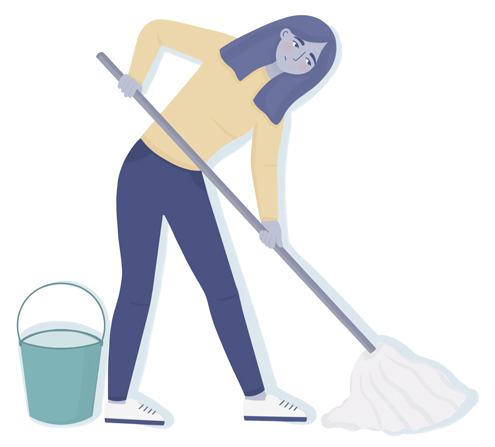 Mopping floor to help with dust allergies