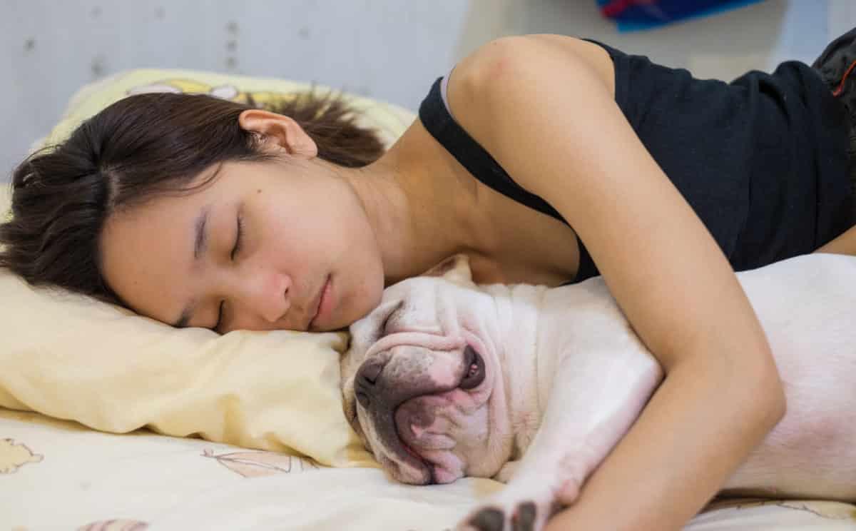 sleeping woman and dog