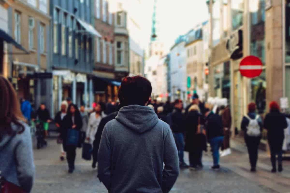 lonely man on city street