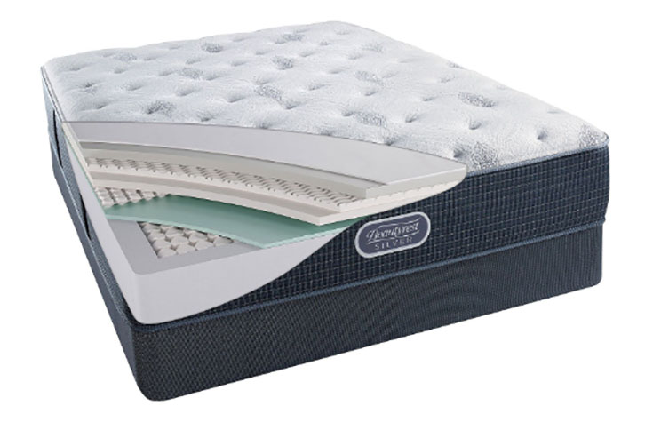 A mattress is opened to show its construction.