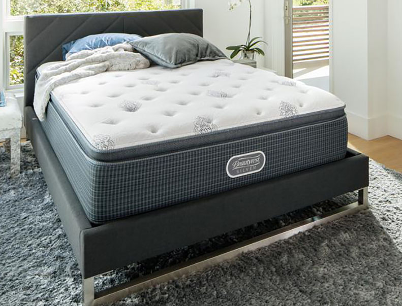A firm mattress in a modern bedroom.