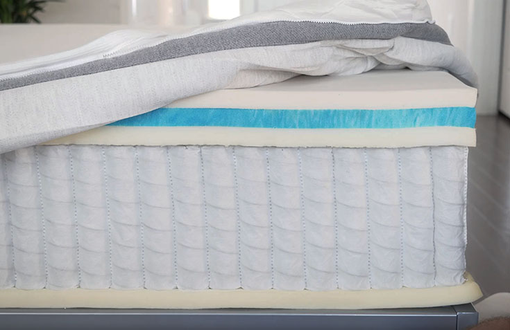 A mattress is cut open to show its construction.