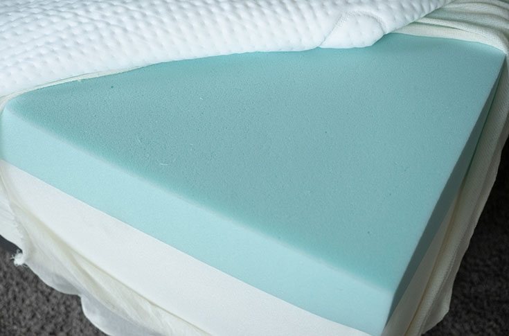 A mattress is opened to show its layers.