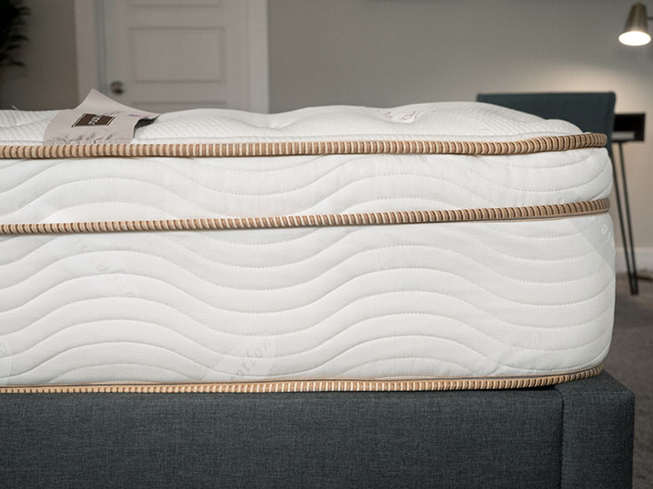 A closeup of an innerspring mattress.