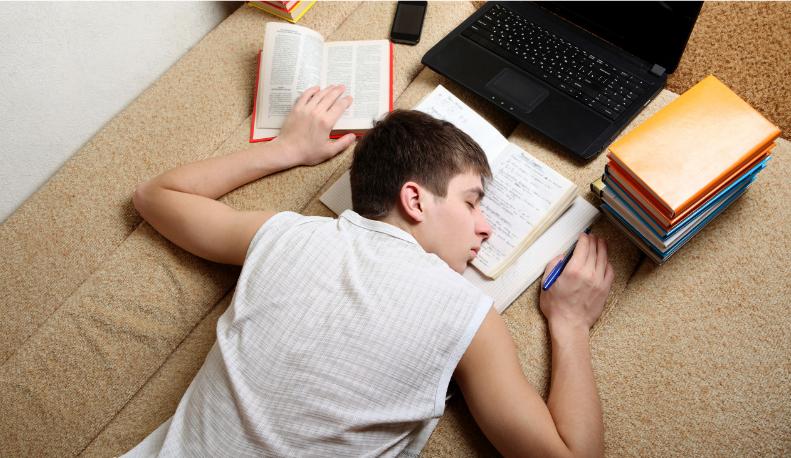 sleep deprived teenage boy