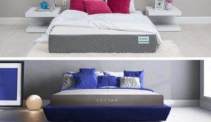 Two foam mattresses in a split image.