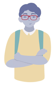College Kid With Glasses