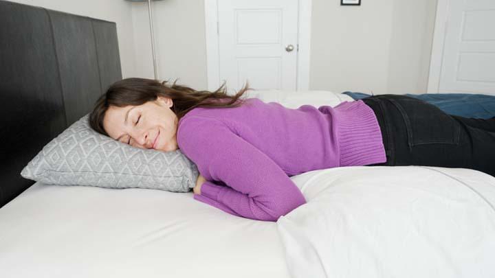 Eli & Elm shredded foam pillow review - stomach sleeper