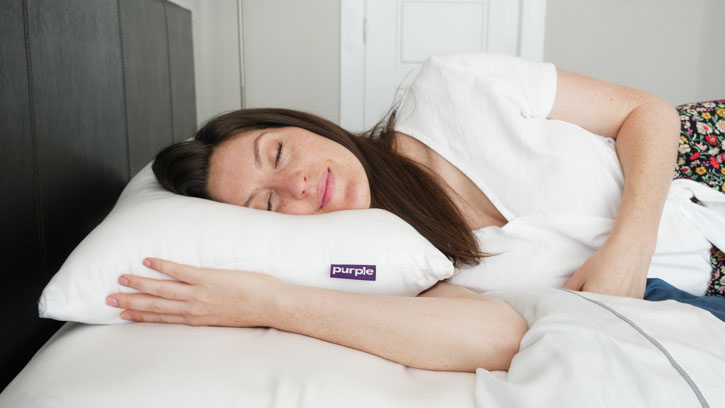 caper pillow vs. purple plush pillow - purple plush side sleeping pillow