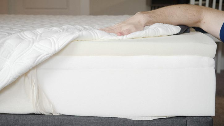 A mattress is opened to show its design.
