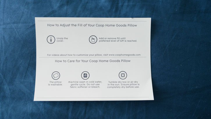 Coop Home Goods Body Pillow Care Card