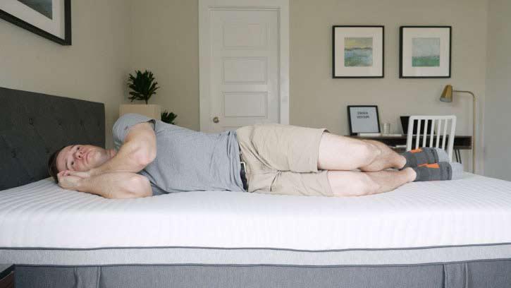 Side sleeping on the Emma mattress.