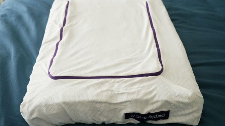 Purple's pillow cover is 88% Polyester, 3% Nylon, 9% Spandex Mesh