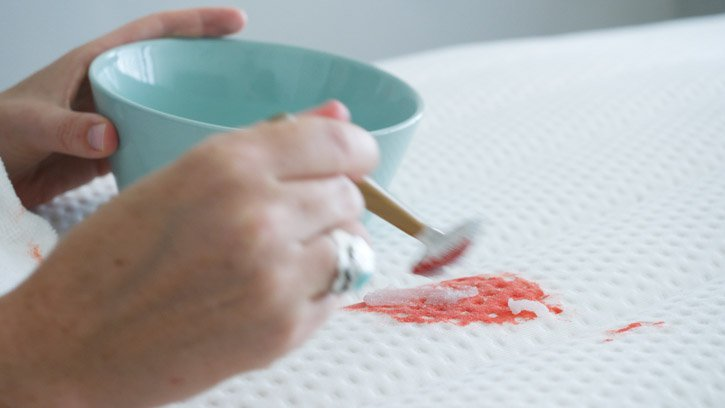 using a meat tenderizer paste to clean a bloods stain from a mattress