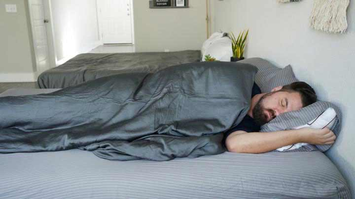 Luxome Weighted Blanket Side Sleeping