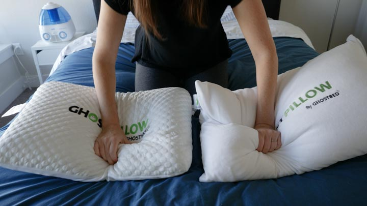 Firmness and feel of the Gel Memory Foam and the Faux Down GhostPillow