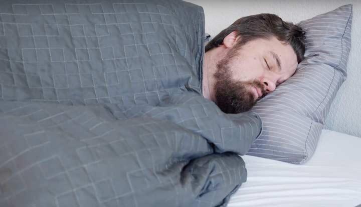 Purple Gravity Weighted Blanket - Side Sleeping