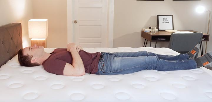 IDLE Sleep Hybrid Mattress - Back Sleeping