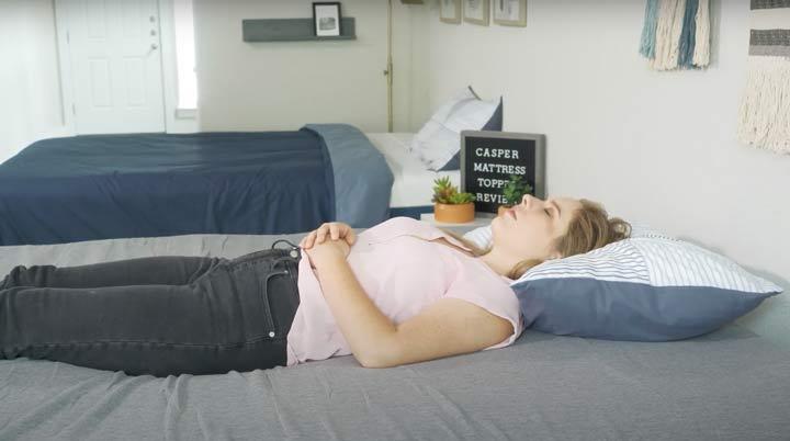 Casper mattress topper - back sleeping