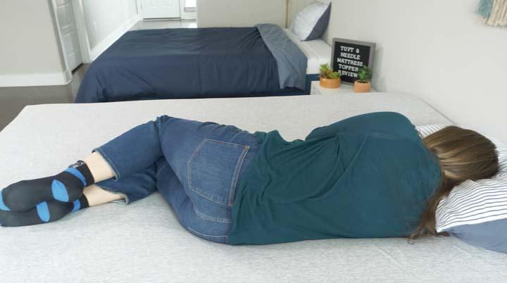 Tuft & Needle mattress topper back sleeping