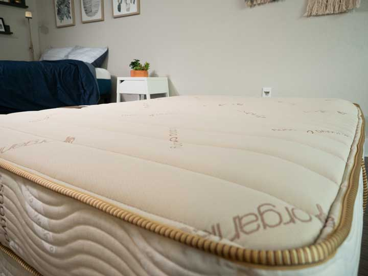 A wide shot of the organic cotton cover for the Saatva Youth mattress.